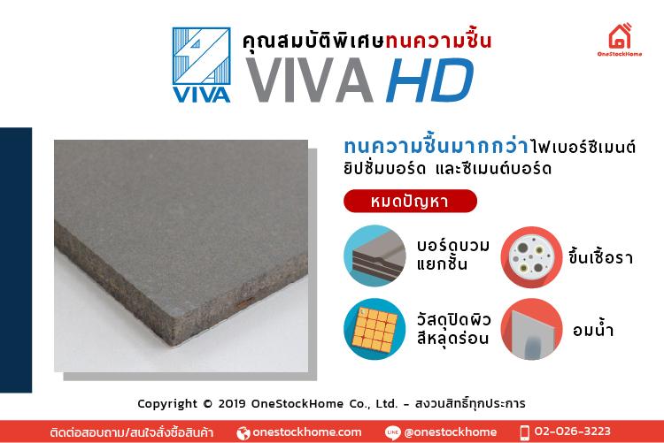 """คุณสมบัติพิเศษของ วีว่า เอชดี (VIVA HD)  1. วีว่า เอชดี (VIVA HD) ทนความชื้นกว่า         วีว่า เอชดี (VIVA HD) ทนความชื้นกว่าไฟเบอร์ซีเมนต์ ยิปซั่ม และซีเมนต์บอร์ดอื่น ด้วยเนื้อของ """"วีว่า เอชดี"""" ที่ผ่านการขึ้นรูปพิเศษ และการทดสอบที่ได้ค่าทางเทคนิคในด้านทนความชื้นสูงกว่า การใช้งานบอร์ดประเภทอื่นที่ไม่ทนความชื้น อาจเกิดความเสียหายต่อผนัง บอร์ดบางประเภท บวม แยกชั้น ขึ้นรา กระทบต่อวัสดุตกแต่งผิว เช่น กระเบื้องหรือวอลล์เปเปอร์หลุดร่อน ความแข็งแรงของผนังลดลง  2. วีว่า เอชดี (VIVA HD) ดูดซึมความชื้นต่ำกว่า         วีว่า เอชดี (VIVA HD) ดูดซึมความชื้นต่ำกว่า ไม่อมน้ำ จากผลการทดสอบการดูดซึมน้ำ เมื่อแช่น้ำทิ้งไว้ 24 ชม. """"วีว่า เอชดี"""" ดูดซึมน้ำเพียง 10% ในขณะที่แผ่นบอร์ดประเภทอื่นดูดซึมน้ำถึง 30% ภาพการทดสอบการดูดซึมน้ำของวีว่า บอร์ด และ บอร์ดอื่น หลังจากให้น้ำซึมที่แผ่นบอร์ด 7 วัน  พบว่า บอร์ดอื่นมีการดูดซึมน้ำและความชื้นสูงอย่างชัดเจน  3. วีว่า เอชดี (VIVA HD) ยืดหดตัวต่ำลง ใช้งานภายนอกได้ดี          วีว่า เอชดี (VIVA HD) ยืดหดตัวต่ำลง ใช้งานภายนอกได้ดี  แผ่นผนังภายนอกต้องเจอกับสภาพอากาศ แดด และฝน ส่งผลให้วัสดุประเภทบอร์ดมีการยืดหดตัวได้บ้างตามธรรมชาติ  """"วีว่า เอชดี""""  ยืดหดตัวต่ำลง จึงทนทานต่อการใช้งานภายนอก แข็งแรงทนทาน อายุการใช้งานยาวนาน  4.  วีว่า เอชดี (VIVA HD) สีเข้มสวย ผิวเรียบเนียน         วีว่า เอชดี (VIVA HD) สีเข้มสวย ผิวเรียบเนียน ใช้งานโชว์ผิวในสไตล์ปูนเปลือยได้ด้วยสีปูนเปลือยของผิว """"วีว่า เอชดี"""" เพียงเคลือบใสก็ใช้งานโชว์ผิวได้ทันที  5. วีว่า เอชดี (VIVA HD) ขึ้นรูปแผ่นบอร์ดในขั้นตอนเดียว         กระบวนการผลิต วีว่า เอชดี (VIVA HD) ผลิตโดยการขึ้นรูปแผ่นบอร์ดในขั้นตอนเดียว ทำให้เนื้อวัสดุเป็นเนื้อเดียวกัน เมื่อต้องเจอกับสภาพอากาศภายนอก ไม่บวมแยกชั้น เมื่อเทียบกับแผ่นบอร์ดประเภทอื่นๆ ไม่ได้เป็นเนื้อเดียวกันทั้งแผ่น เสี่ยงต่อการแยกชั้น เสียหายในอนาคต  6. วีว่า เอชดี (VIVA HD) ผ่านการทดสอบการทนไฟ         วีว่า เอชดี (VIVA HD) ผ่านการทดสอบการทนไฟ มาตรฐานยุโรป EN 13501 Class 2 ไม่ลามไฟ ไม่เกิดควันพิษ จึงเพิ่มความปลอดภัยให้แก่บ้านและอาคาร  7. วีว่า เอชดี (VIVA HD) ปลอดภัยต่อเชื้อรา         วีว่า เอชดี (VIVA HD) ปลอดภัยต่อเชื้อรา เพราะมีความเป็นด่างที่ผิวหน้าสูง PH10 แ"""